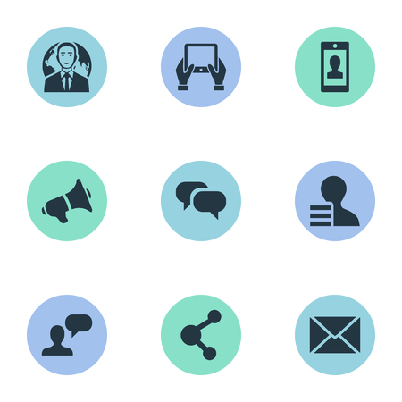 Vector Illustration Set Of Simple Blogging Icons. Elements Post, Profile, Man Considering And Other Synonyms Tablet, Gossip And Globe.