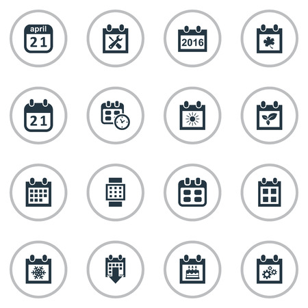 almanac: Vector Illustration Set Of Simple Date Icons. Elements Date, Almanac, Plant And Other Synonyms Leaf, Sun And Calendar.