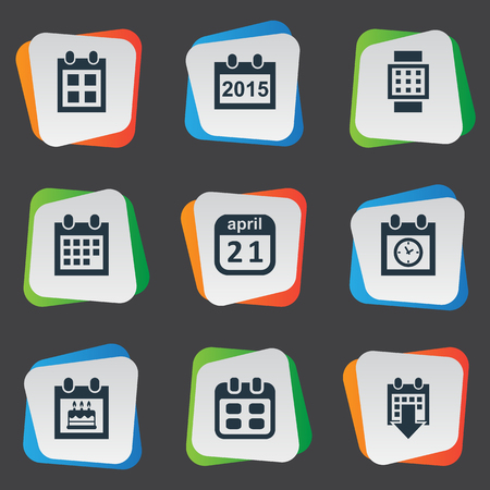Vector Illustration Set Of Simple Date Icons. Elements Date Block, Intelligent Hour, Special Day And Other Synonyms Hour, April And Planner. Illustration