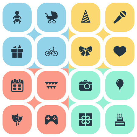 Vector Illustration Set Of Simple Birthday Icons. Elements Aerostat, Resonate, Speech And Other Synonyms Stroller, Balloon And Flags.