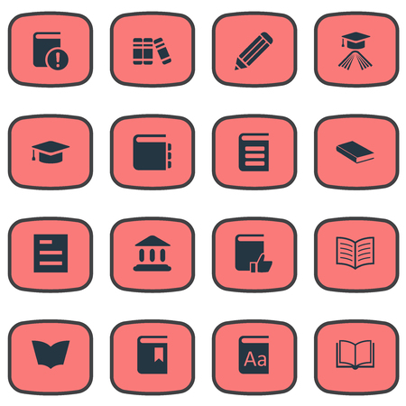 Vector Illustration Set Of Simple Books Icons. Elements Book Page, Alphabet, Journal And Other Synonyms Encyclopedia, Graduation And Academy. Illustration