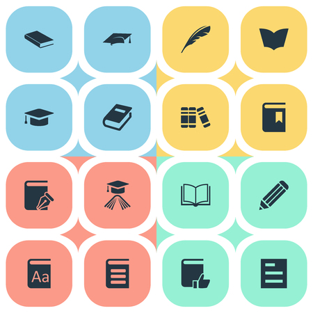 Vector Illustration Set Of Simple Reading Icons. Elements Plume, Encyclopedia, Alphabet And Other Synonyms Note, Sketchbook And Graduation.
