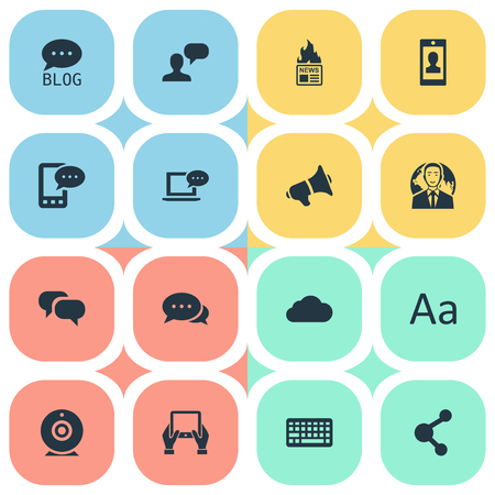 Vector Illustration Set Of Simple Blogging Icons. Elements Man Considering, Loudspeaker, Notepad And Other Synonyms Man, Message And Site. Illustration