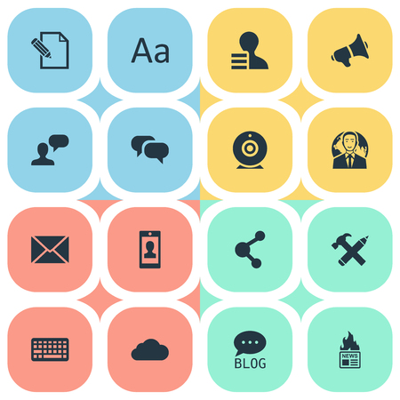 Vector Illustration Set Of Simple Icons. Elements Post, Gain, Loudspeaker And Other Synonyms Gossip, Debate Illustration