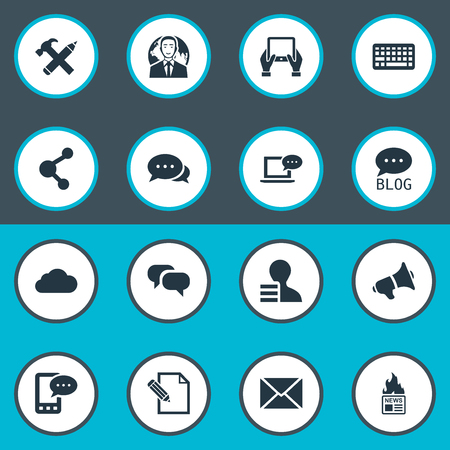 Vector Illustration Set Of Simple Blog Icons. Elements Repair, Gossip, Keypad And Other Synonyms Blog, Coming And Phone. Иллюстрация