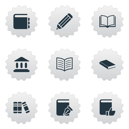 literature: Vector Illustration Set Of Simple Knowledge Icons. Elements Book Page, Recommended Reading, Bookshelf And Other Synonyms Journal, Literature And Pencil. Illustration
