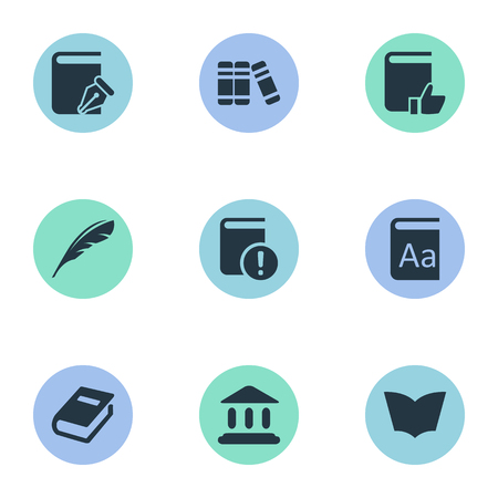 Vector Illustration Set Of Simple Knowledge Icons. Elements Library, Alphabet, Reading And Other Synonyms Literature, Page And Alphabet.