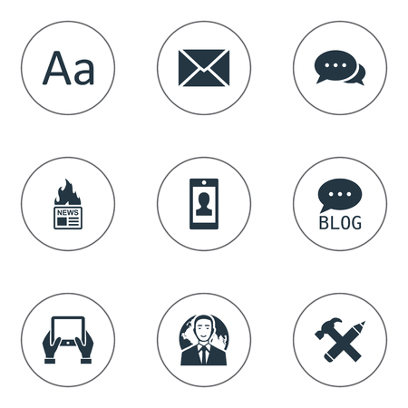 writing pad: Vector Illustration Set Of Simple Newspaper Icons. Elements Cedilla, Notepad, Site And Other Synonyms Hammer, News And Negotiation.