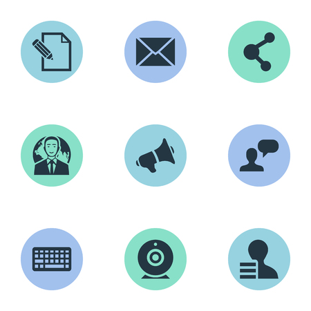 Vector Illustration Set Of Simple blogging Icons. Elements Share, Man Considering, Keypad And Other Synonyms Keypad, Broadcast And Pen.