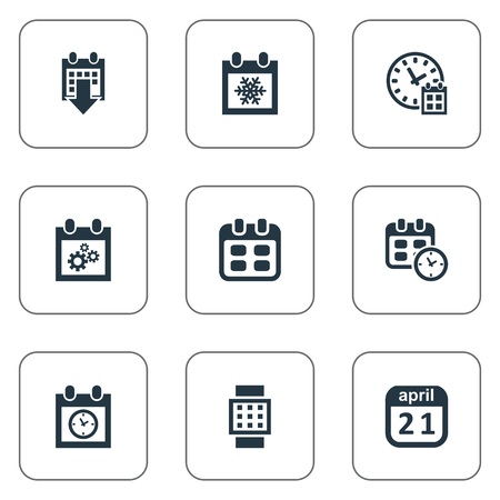 almanac: Vector Illustration Set Of Simple Plan Icons. Elements Deadline, Almanac, Intelligent Hour And Other Synonyms Time, April And Reminder. Illustration
