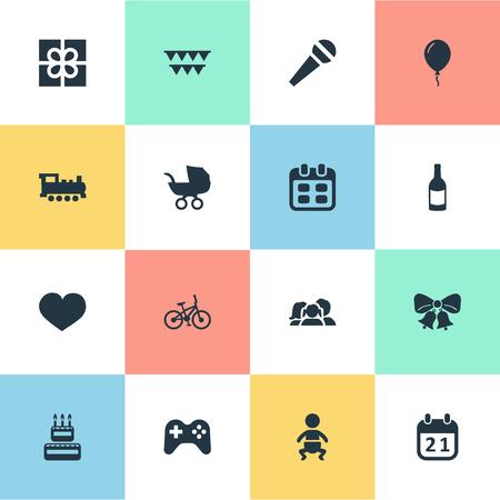 Vectorillustratiereeks Eenvoudige Vakantiepictogrammen. Elementen resoneren, trainen, fietsen en andere spreekwoorden, familie en stem.