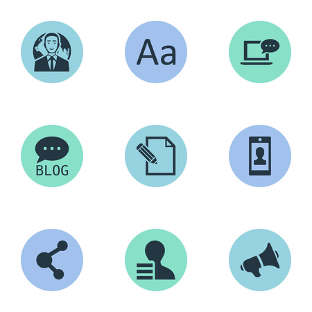 Vector Illustration Set Of Simple User Icons. Elements International Businessman, Loudspeaker, Laptop And Other Synonyms Network, Cedilla And Man.
