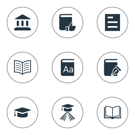 Vector Illustration Set Of Simple Books Icons. Elements Alphabet, Library, Sketchbook And Other Synonyms Reading, Favored And Note. Illustration