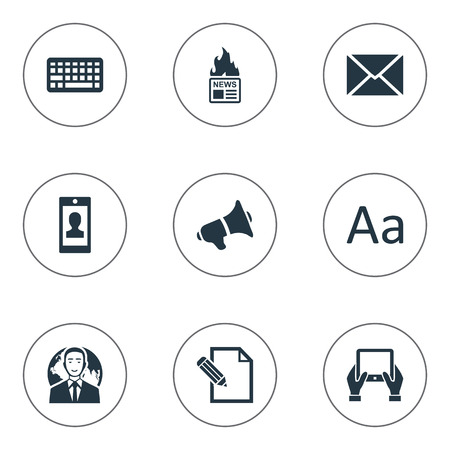 writing pad: Vector Illustration Set Of Simple Newspaper Icons. Elements Document, Gazette, Loudspeaker And Other Synonyms Profile, Missive And Tablet.