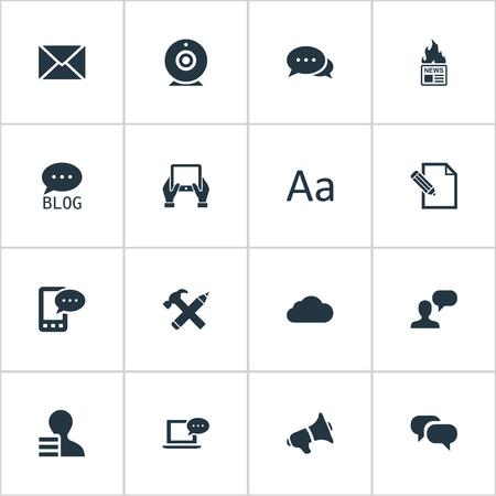 Vectorillustratiereeks Eenvoudige Gebruikerspictogrammen. Elementen Cedilla, uitzending, reparatie en andere synoniemenwinst, luidspreker en hand. Stockfoto - 75951171