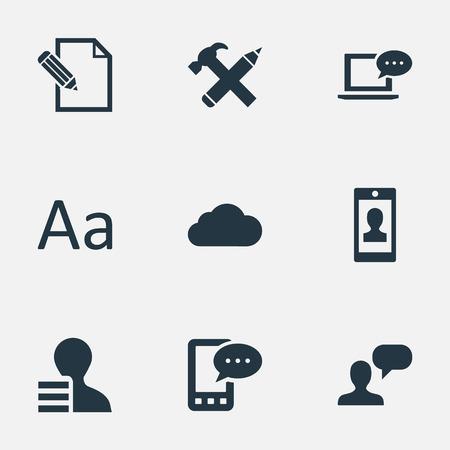 Vector illustratie Set van eenvoudige bloggen pictogrammen. Elementen Laptop, reparatie, bewolkt en andere synoniemen schrijven, potlood en winst.