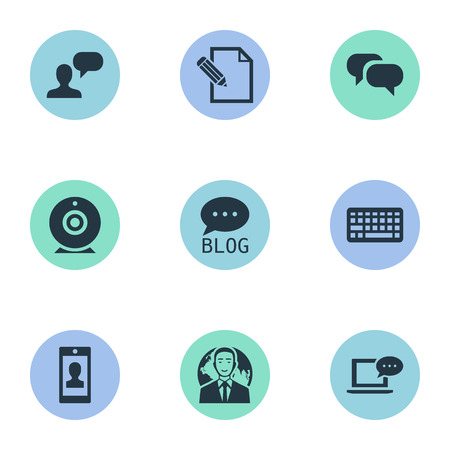 Vector Illustration Set Of Simple User Icons. Elements Document, Laptop, International Businessman And Other Synonyms Speech, Man And Forum.