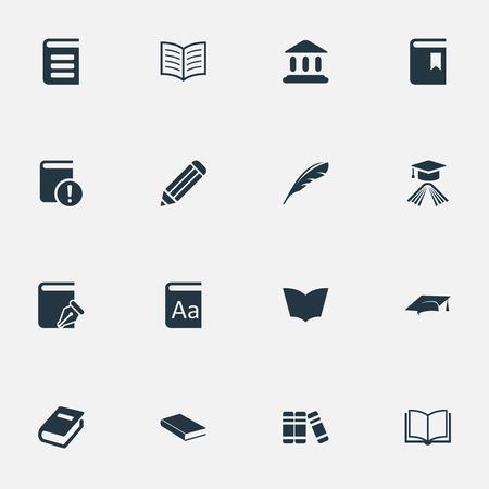 벡터 일러스트 레이 션 간단한 교육 아이콘의 집합입니다. 요소 노트북, 책 페이지, 스케치북 및 기타 동의어 학교, 졸업 및 모자.
