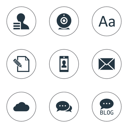 Vector Illustration Set Of Simple Blogging Icons. Elements Argument, Document, Site And Other Synonyms Sky, Alphabet And Forum. Иллюстрация
