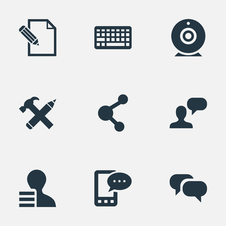 Vector Illustration Set Of Simple Blogging Icons. Elements Man Considering, Document, Gain And Other Synonyms Phone, Repair And Laptop. Illustration