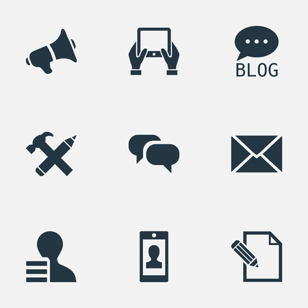Vector Illustration Set Of Simple Newspaper Icons. Elements Loudspeaker, Site, Post And Other Synonyms Pen, Contract And Forum. Иллюстрация