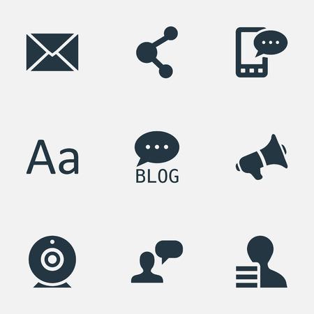 Vector illustratie Set van eenvoudige bloggen pictogrammen. Elementen delen, man overwegen, krijgen en andere synoniemensite, man en overwegen. Stock Illustratie