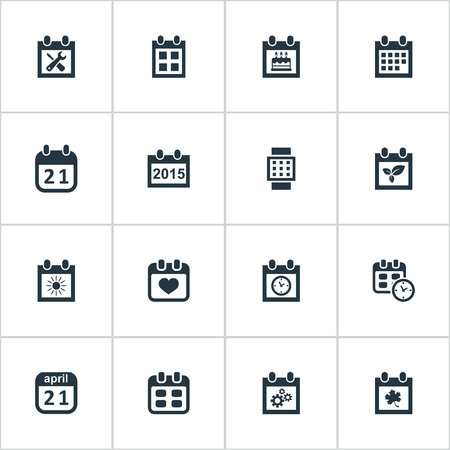Vector Illustration Set Of Simple Date Icons. Elements Almanac, Renovation Tools, Leaf And Other Synonyms Reminder, Remembrance And Annual. Stock Vector - 76179727