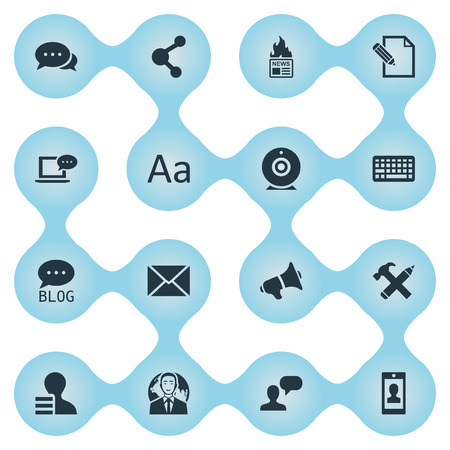 Vector Illustration Set Of Simple Newspaper Icons. Elements Post, Man Considering, Share And Other Synonyms Profit, Contract And International.