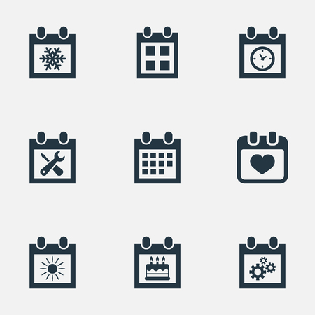 Vector Illustration Set Of Simple Plan Icons. Elements Date Block, Planner, Special Day And Other Synonyms Wheel, Winter And Repair.