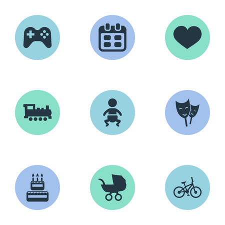 Vector Illustration Set Of Simple Birthday Icons. Elements Soul, Days, Confectionery And Other Synonyms Carriage, Locomotive And Schedule. Ilustração