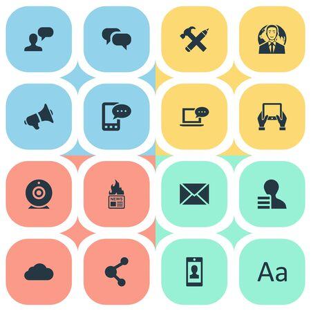 Vectorillustratiereeks Eenvoudige Krantenpictogrammen. Elements Gazette, Man gezien, E-Letter en andere synoniemen komen, nieuws en overweging.