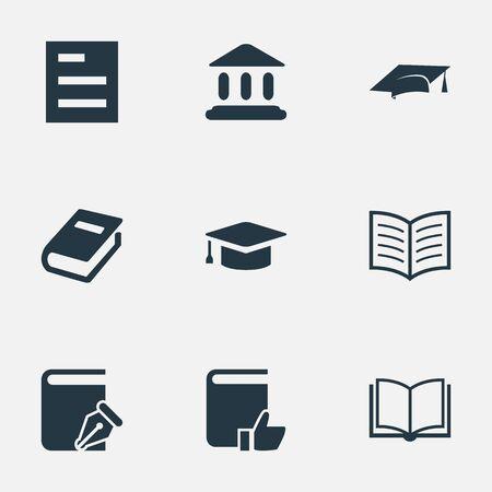 벡터 일러스트 레이 션 간단한 책 아이콘의 집합입니다. 요소 도서 페이지, 스케치북, 도서관 및 기타 동의어 건물, 선호 및 메모. 일러스트