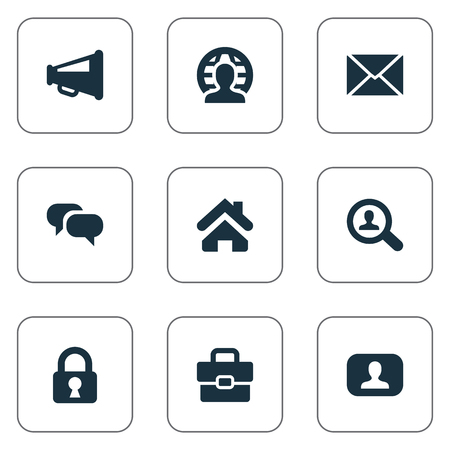 Vector Illustration Set Of Simple Business Icons. Elements Chatting, Magnifier, Padlock And Other Synonyms Megaphone, Estate And Loudspeaker. Фото со стока - 76180872