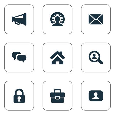 Vectorillustratiereeks Eenvoudige Bedrijfspictogrammen. Elements Chatting, Magnifier, Padlock And Other Synoniemen Megaphone, Estate and Loudspeaker. Stock Illustratie