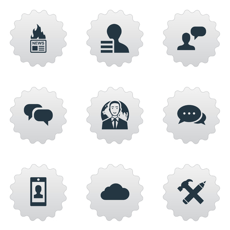 Vector Illustration Set Of Simple Blogging Icons. Elements Gain, Man Considering, Gossip And Other Synonyms Speech, Repair And Discussion. Çizim