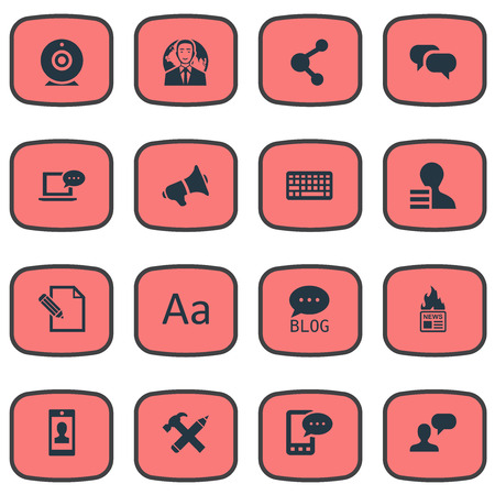 Vector illustratie Set van eenvoudige bloggen pictogrammen. Elements Gazette, Cedilla, Luidspreker en andere synoniemen Broadcast, Globe en Share.