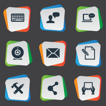 writing pad: Vector Illustration Set Of Simple Newspaper Icons. Elements Laptop, Keypad, Repair And Other Synonyms Epistle, Tablet And Debate.