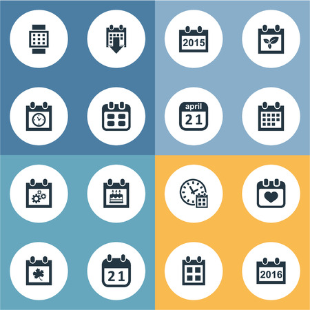 Vector Illustration Set Of Simple Date Icons. Elements Almanac, Planner, History And Other Synonyms Smart, Deadline And Block. Illustration