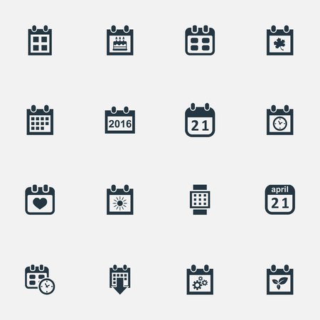 Vector Illustration Set Of Simple Calendar Icons. Elements Date, Leaf, Intelligent Hour And Other Synonyms Remembrance, Summer And Special.