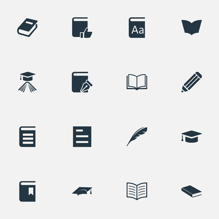 notebook cover: Vector Illustration Set Of Simple Knowledge Icons. Elements Book Cover, Encyclopedia, Pen And Other Synonyms Notebook, Pencil And Journal.