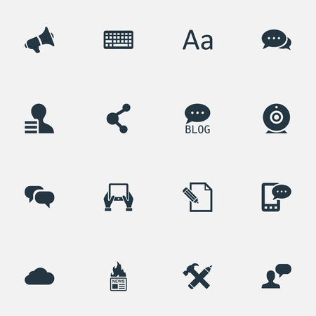 Vector Illustration Set Of Simple User Icons. Elements E-Letter, Gain, Loudspeaker And Other Synonyms Laptop, Sky And E-Letter.