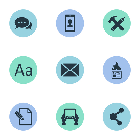 Vector Illustration Set Of Simple User Icons. Elements Cedilla, Document, Repair And Other Synonyms Contract, Missive And News. Illustration