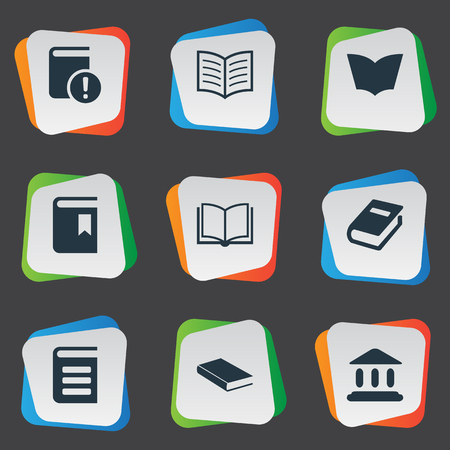 notebook cover: Vector Illustration Set Of Simple Reading Icons. Elements Notebook, Blank Notebook, Book Cover And Other Synonyms Blank, Book And Building.