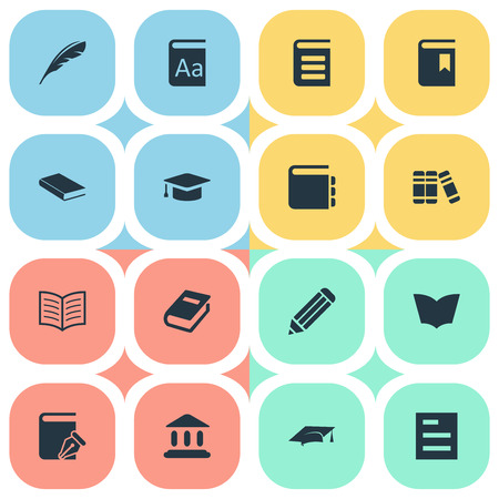 Vector Illustration Set Of Simple Knowledge Icons. Elements Notebook, Encyclopedia, Alphabet And Other Synonyms Dictionary, Writing And Literature. Illustration