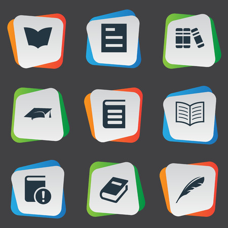 Vector Illustration Set Of Simple Reading Icons. Elements Plume, Academic Cap, Reading And Other Synonyms Hat, Important And Quill.