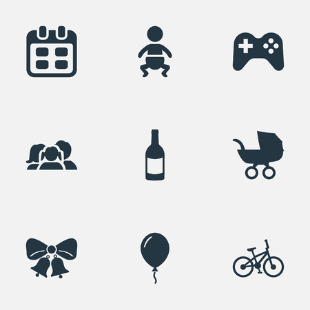 Vector Illustration Set Of Simple Celebration Icons. Elements Domestic, Infant, Beverage And Other Synonyms Beverage, Resonate And Jingle. Vetores