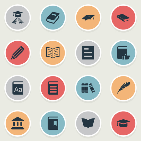 Vector Illustration Set Of Simple Education Icons. Elements Recommended Reading, Graduation Hat, Reading And Other Synonyms Book, Document And Pen. Illustration