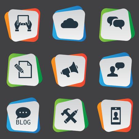 Vector illustratie Set van eenvoudige bloggen pictogrammen. Elementen site, Kladblok, reparatie en andere synoniemen Man, pen en site.