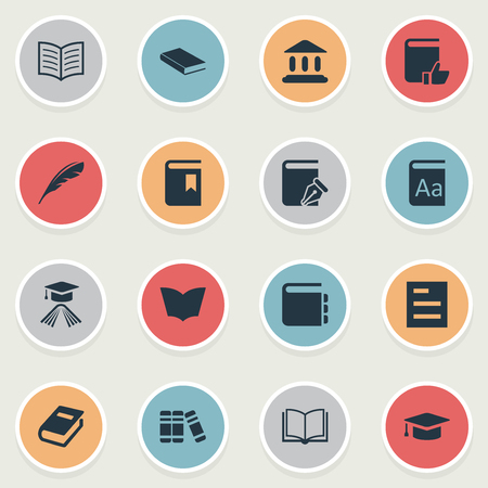 Vector Illustration Set Of Simple Reading Icons. Elements Notebook, Tasklist, Sketchbook And Other Synonyms Hat, Graduation And Favored.