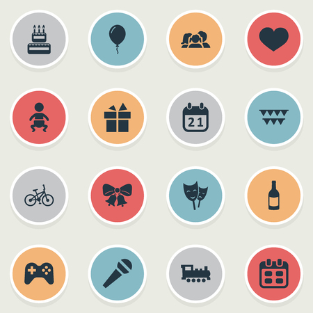 juvenile: Vector Illustration Set Of Simple Celebration Icons. Elements Ribbon, Infant, Beverage And Other Synonyms Feelings, Ribbon And Balloon. Illustration